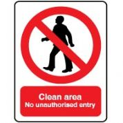 Prohibition safety sign - Clean Unauthorized 017